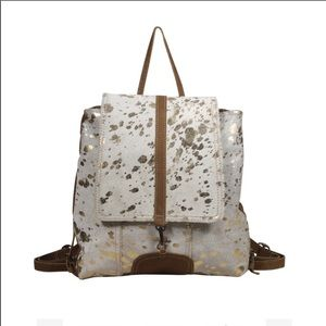 MYRA BAG Slivery touch cowhide leather backpack